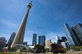 Iconic CN Tower. It is a magnificent architect which stand out among all the building in the city